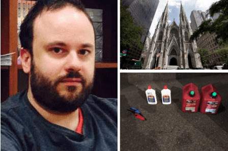 New Jersey man, 37, arrested in New York's St Patrick's Cathedral with gas cans and lighter fluid two days after Notre Dame fire - Marc Lamparello jumped to defense of Trump after he was criticized by the French